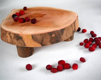 ECO Raised Natural LIVE EDGE Sycamore Round Cake Stand/Serving Platter/Cheese Board