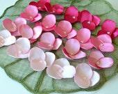 Hydrangea Blossoms- Satin flower appliques, handmade appliques (20 pcs) - PINK DREAM ( Baby Pink - Bubblegum- Carnation Pink - Fuchsia )