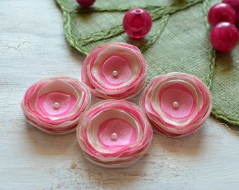 Tiny and Thick- Handmade organza satin sew on flower appliques, floral appliques, fabric flowers, pink flowers  (4pcs)-  IVORY and HOT PINK
