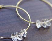 Herkimer Diamond Gold Hoop Earrings