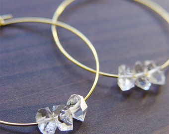 SALE Herkimer Diamond Gold Hoop Earrings