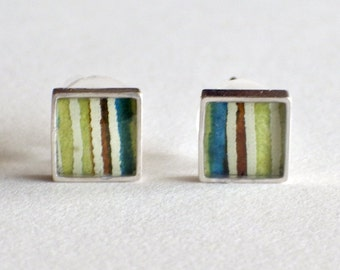 Green and Blue Striped Square Paper Stud Earrings / Sterling Silver / Paper Jewelry / Gifts for Her / First Anniversary Gift / Diamond Posts
