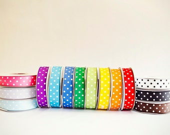 Polka Dot Grosgrain Ribbon, 25 yds. on the spool, Choice of 15 colors and 3 sizes, 3/8ths, 5/8th, or 7/8ths