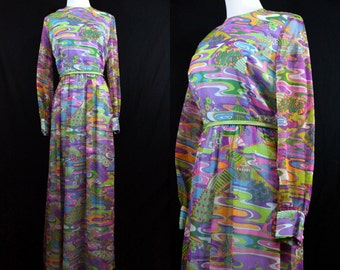 1960s Psychedelic Maxi Dress Chiffon Rainbow Posh Couture Pagoda Bird Asian Print Long Sleeve