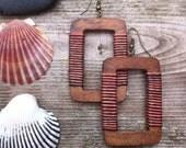 Dusk- striped  Natural Earrings Linen Textile Beachchic Boho Rectangular Wooden Earrings