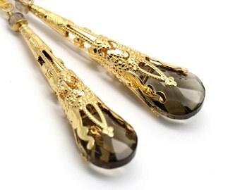 Long Earrings Smoky Brown Crystal Gold Plated Long Cones Filigree Gold Bridal Earrings Bridesmaids Chandelier Earrings