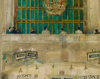 Grand Central Station (Window)   -  Art Print  from Original Watercolors - Page Size: 8.5 x 11 or 12 x 18