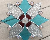 Stained Glass Suncatcher in Sky Blue, Orchid Purple and Iridescent Clear