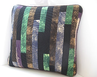 Forest Colors Toss Pillow in green brown black and purple patchwork tree circle quilted Textile Art Fabric Sofa Pillow Nature Decor pillow