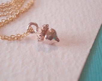 Acorn Necklace Tiny Gold Acorn Pendant Acorn Jewerly Gold Acorn Necklace