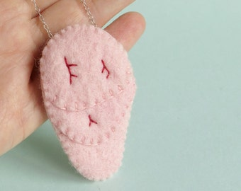 Lung Necklace Sterling Silver and Felt SALE