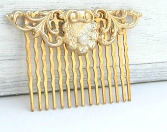 Bridal Hair Comb, Wedding Hair Accessories, Gold Hair Comb, Vintage Style Hair Comb, Wedding Hair Comb, Gold Pearl Hair Comb,