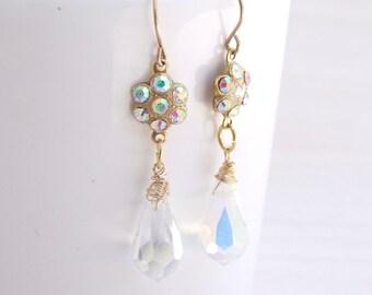 Crystal Drop Earrings, Bridal Gold Earrings, Chandelier Earrings, Dangle Earrings, Wedding Jewelry