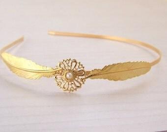 SALE,Gold leaf headband, Feather Headband,  Bridal Hair Piece, Greek Goddess, Romantic,Hair Accessories