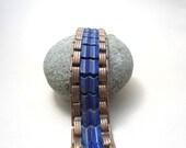 Blue Chain Link Bracelet, Rustic Patina, Chevron, Art Deco