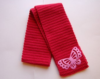 Beautiful Butterfly Scarf for Women or Girls in Pink, Ready to Ship