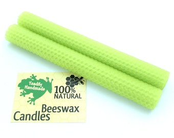 Hand-rolled Beeswax Honeycomb Tapers in Chartreuse  Available in 6 Heights