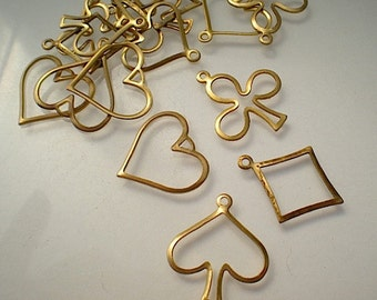16 open heart, spade, club and diamond charms