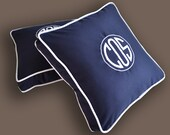 embroidered monogram pillow sunbrella linen cotton boat nautical navy blue white ahoy