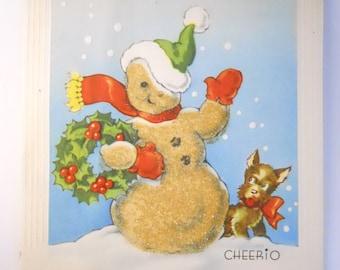 SNOWMAN CHRISTMAS 1940s DOG- Holiday card