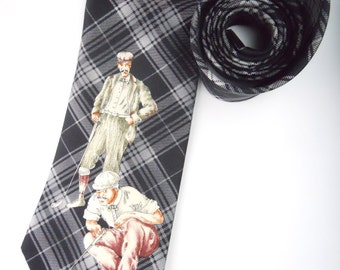 SCOTTISH TARTAN GOLFERS- Pierre Cardin silk twill necktie, golfers figural illustration