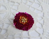 Pink orange gold pin button hand-embroidered with sequins & beads - made to order