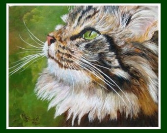 Maine Coon Cat Art Print by Mary Jo Zorad