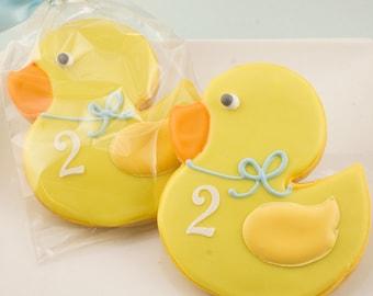 Rubber Duck Cookies, Baby Cookies, Baby Shower  - 12 Decorated Sugar Cookies