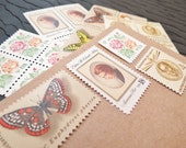 Romance .. In the Garden .. Vintage UNused Postage Stamps .. to post 5 letters
