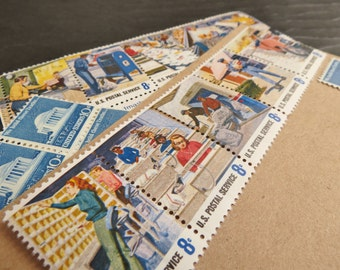 Snail Mail .. UNused Vintage Postage Stamps  .. post 5 letters