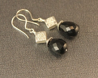 The Andrea Black Onyx Faceted Drop and Bali Silver Dangle Earrings - Black and Silver