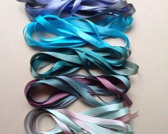 Ocean Mix - 10 metres of 7mm silk ribbon