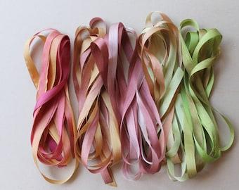 Garden Mix - 10 metres of 7mm silk ribbon