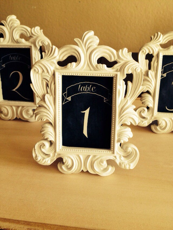 LAST SET SALE - 5 Mini Chalkboard Frames, Chalkboard Table Numbers - Baroque Style, Place Settings, Wedding Chalkboards, Food Buffet
