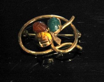 "Vintage Scarab Brooch, Tigereye, Carnelian, Jade, 1/20 12K Gold Filled, ""WRF"", Mint Condition"