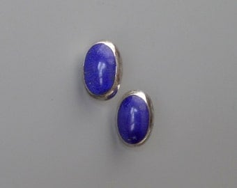 Sterling Lapis Lazuli Earrings. Mexican Silver. Taxco Mexico.