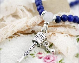 Prayer wheel (unisex) necklace - Lapis, aventurine and jade