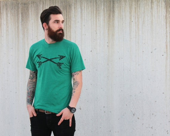 Mens ARROW t shirt archery hand screen printed heather green american apparel short sleeved tee xs s m l xl xxl (36 Custom Color options)
