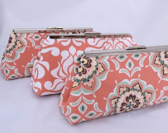 Coral Bridesmaids Gift Custom Clutch- Custom Design your Own Wedding Party gift in various patterns and colors