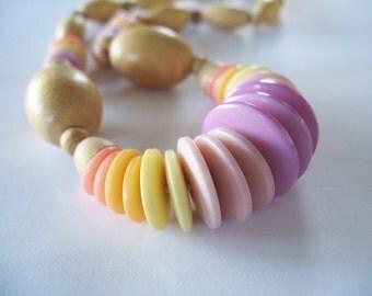 Pastel Colors Necklace Wood Disks Purple Pink Yellow Peach Natural 1970's Springtime