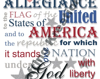 8x10 Pledge of Allegiance Printable, Memorial Day, 4th of July