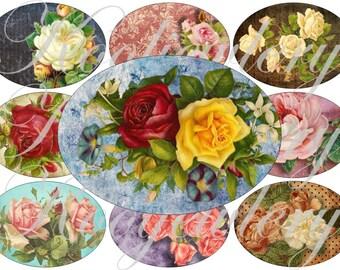 Vintage Roses in large oval for belt buckle and more digital collage sheet No.1446