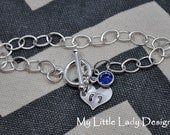 Tiny Baby Feet Heart- Hand Stamped Sterling Silver Bracelet- Miscarriage, Infant Loss