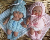 Knitting Pattern Berenguer Baby Doll Newborn Starter Sets Boy and Girl diaper bib vests bonnet hat booties blanket pdf download doll clothes