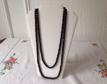 Vintage flapper black faceted glass bead necklace