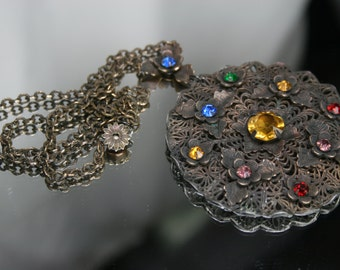 Vintage Brass Filigree Pendant with Multi-Colored Glass Stones- Necklace
