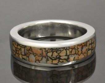 Tan Dinosaur Bone Ring in Cobalt Chrome by Hileman Silver Jewelry