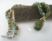 Green Turquoise (the Real Stuff) Chunk Necklace