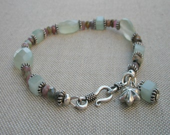 Soft Green, Muted Pink and Oxidized Sterling Silver Bracelet
