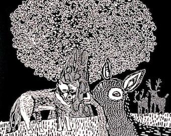 Deer and Wolf linocut print